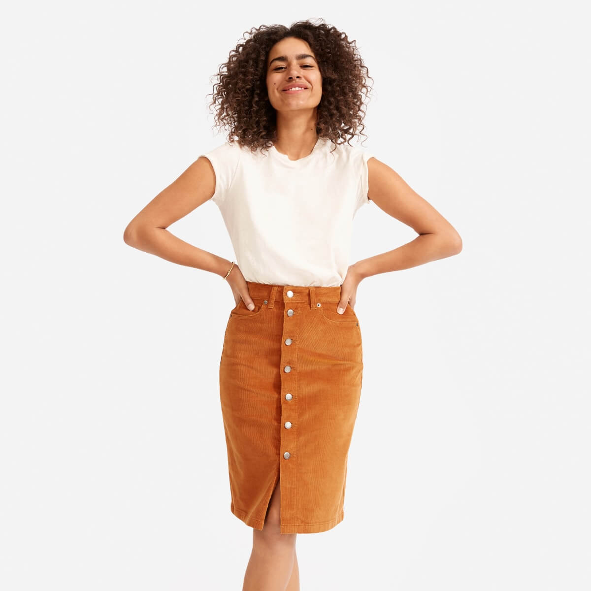 Corduroy Button Front Midi Line Skirt