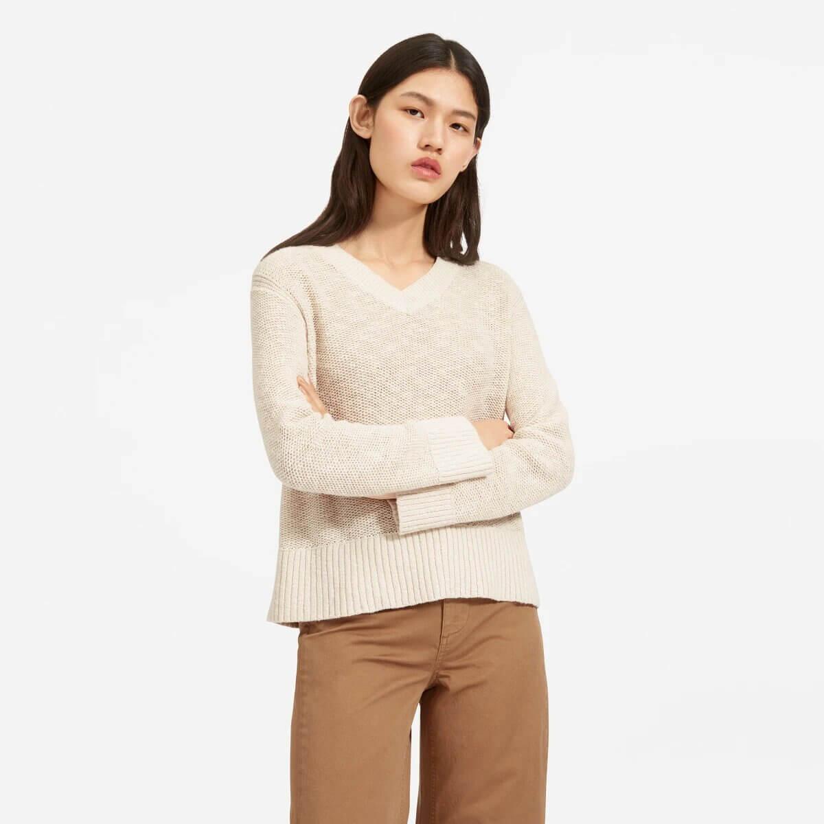 The Cotton-Linen V-Neck