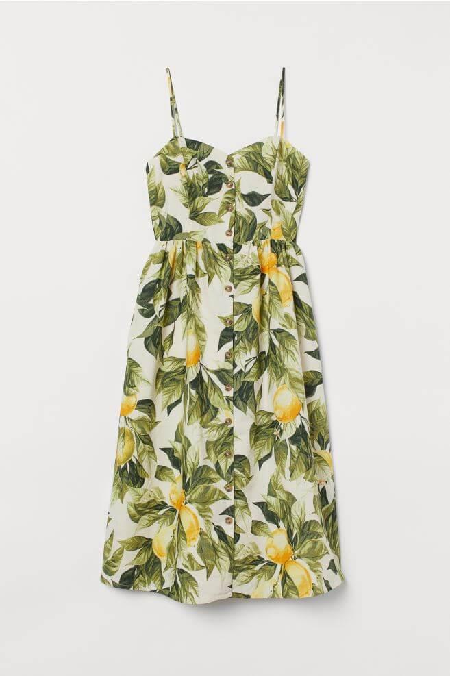 Linen-Blend Dress