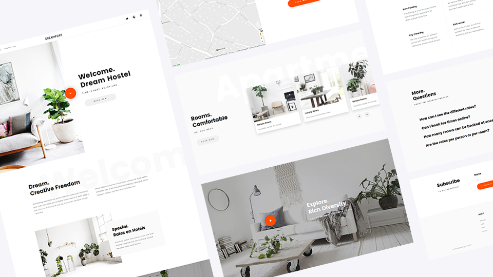 Clean & Minimal Hotel Booking Theme Dreamport