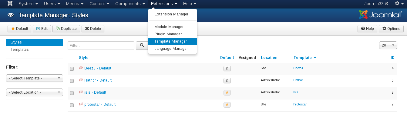 Show Joomla module positions. template manager