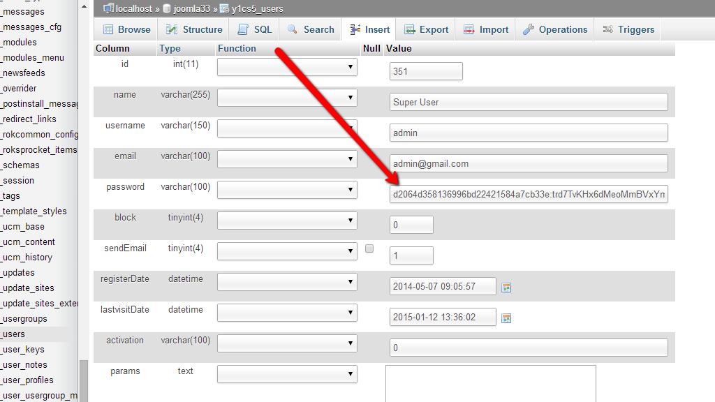 How to reset admin password in Joomla. Insert Password