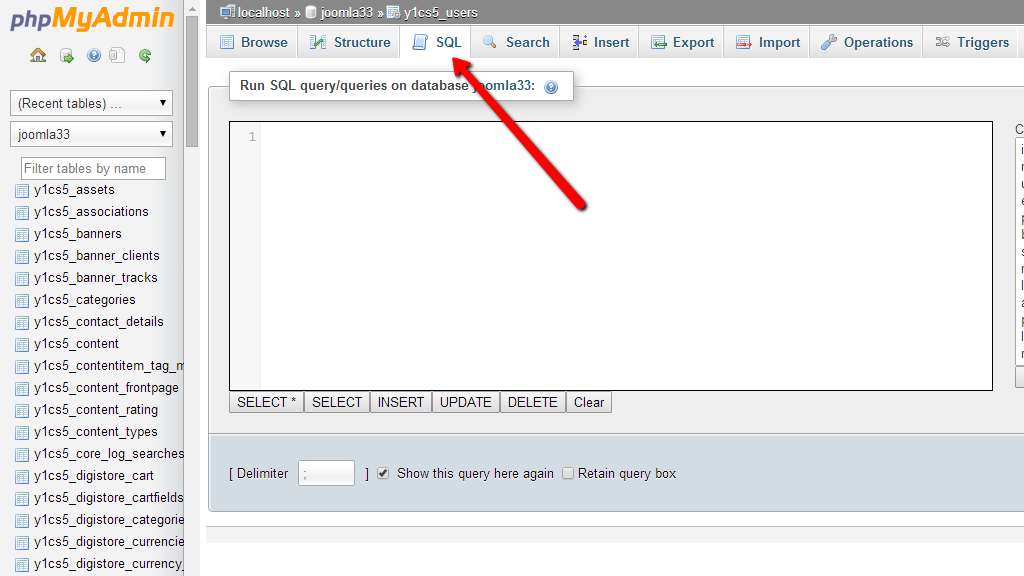 How to reset admin password in Joomla? Press SQL button.