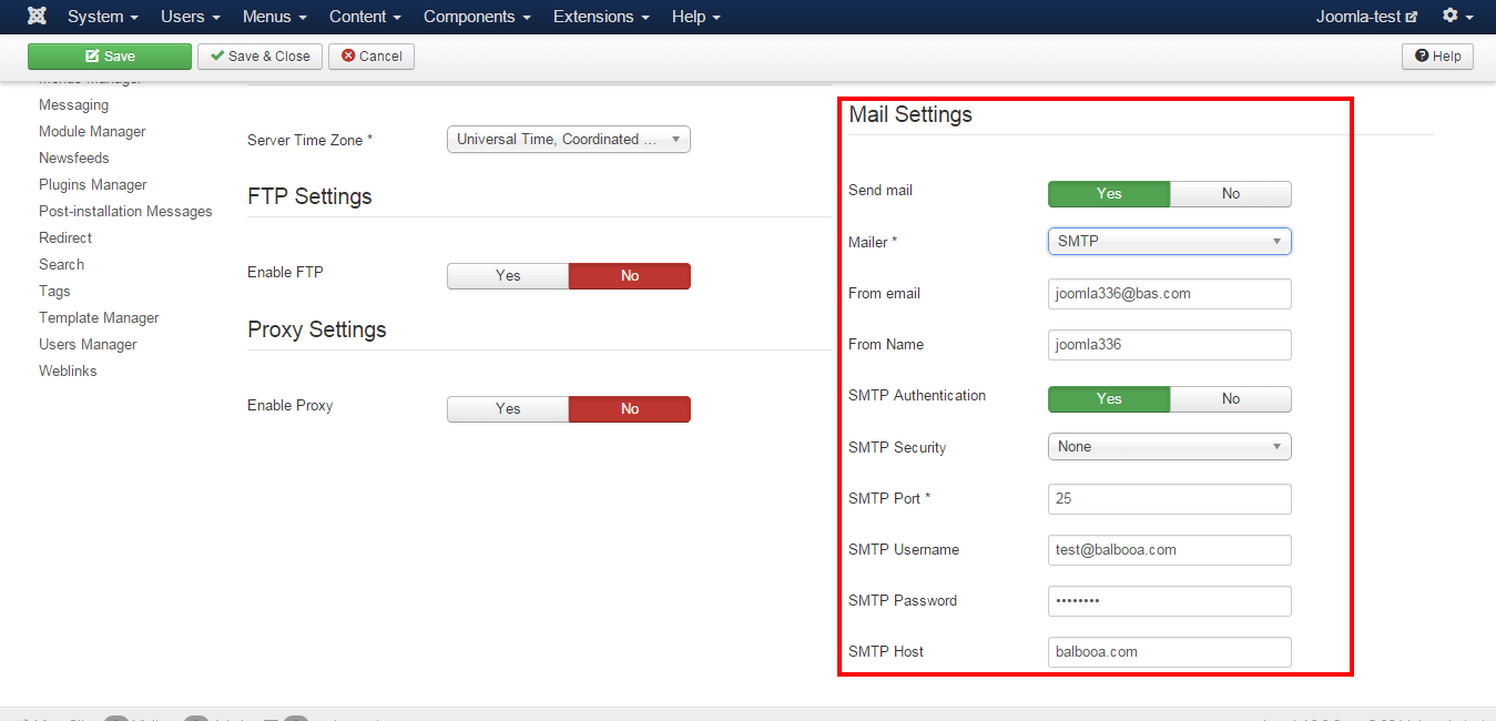 How to setup mail in Joomla? Mail Settings