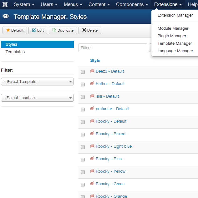 How to install Joomla! 3.x template, Step 4