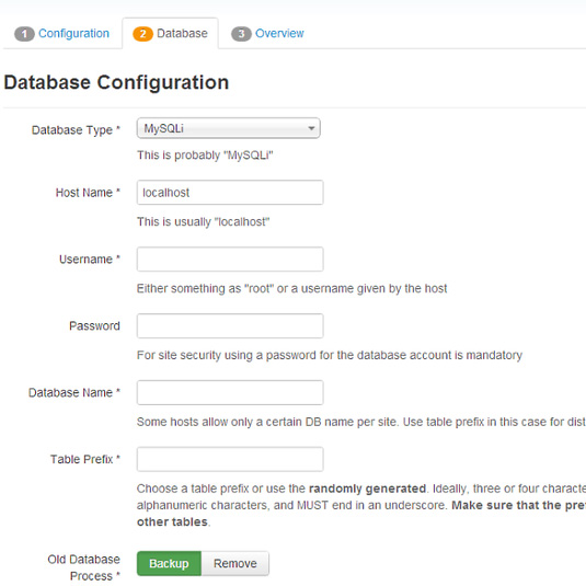 How to install Joomla! 3.x Database configuration