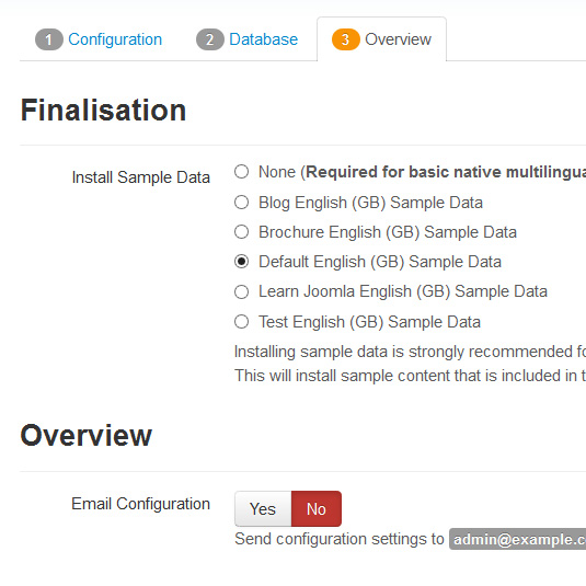 How to install Joomla! 3.x Sample data installation