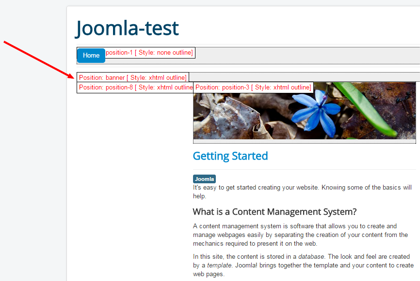 How to display Joomla! module on the frontend. Select Module position