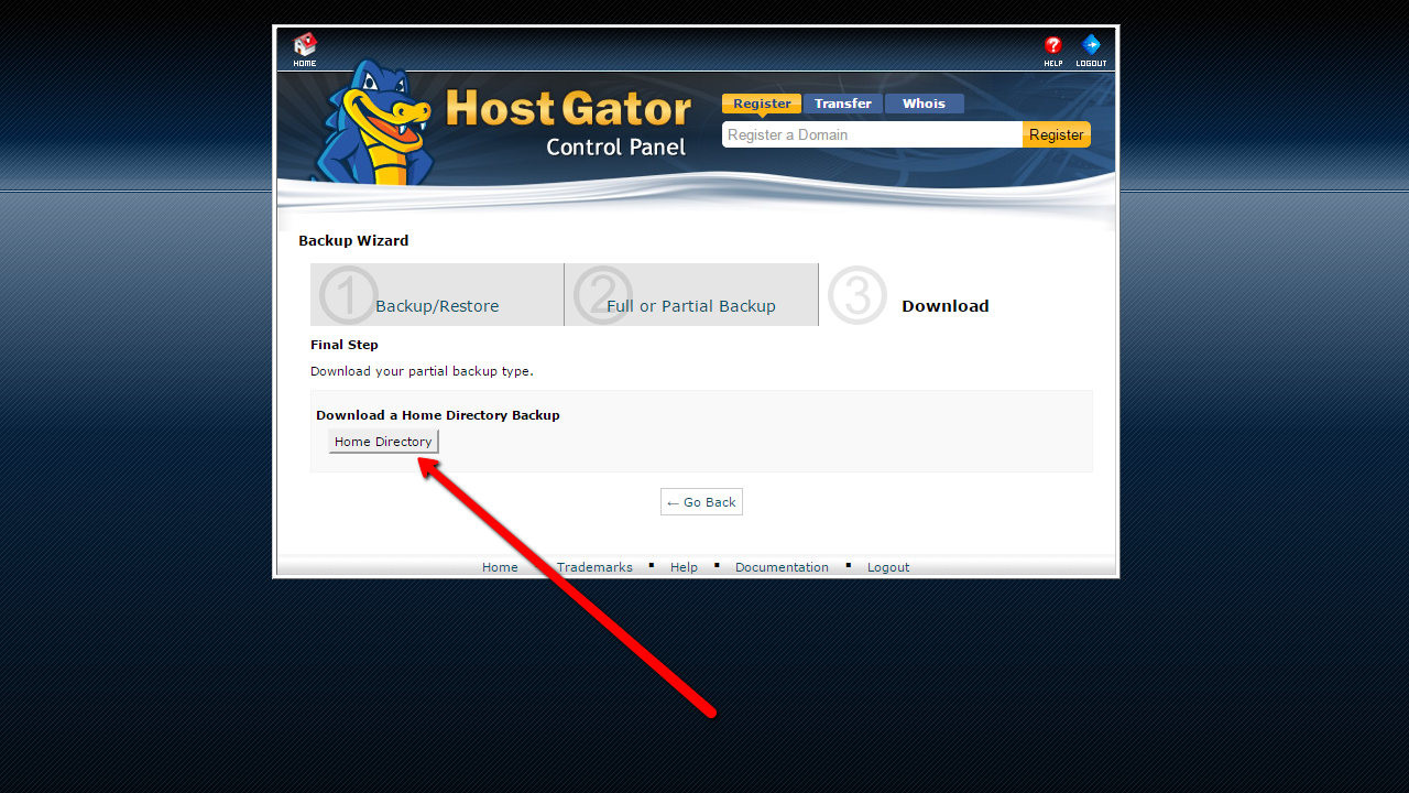 How to backup Joomla! through hosting. Home diretory backup