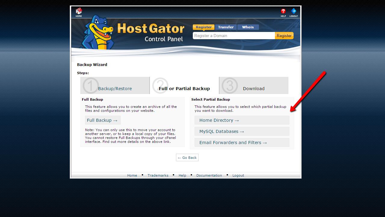 How to backup Joomla! through hosting. Home diretory