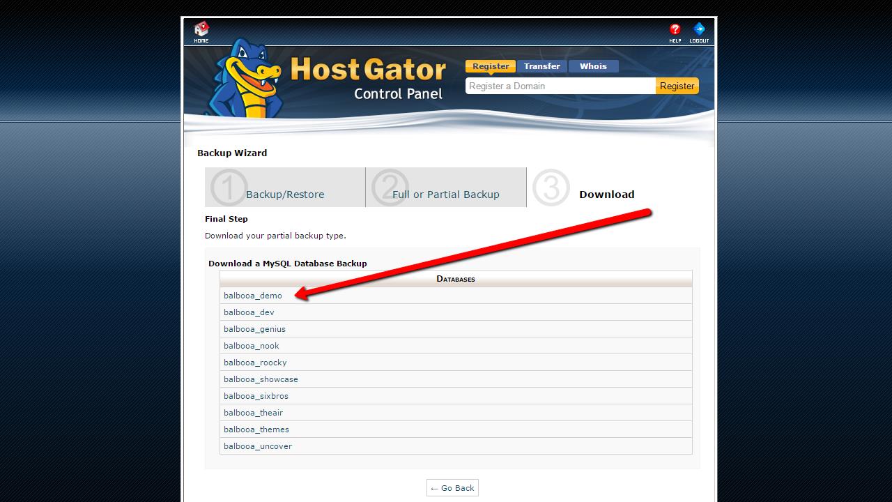How to backup Joomla! through hosting. Database