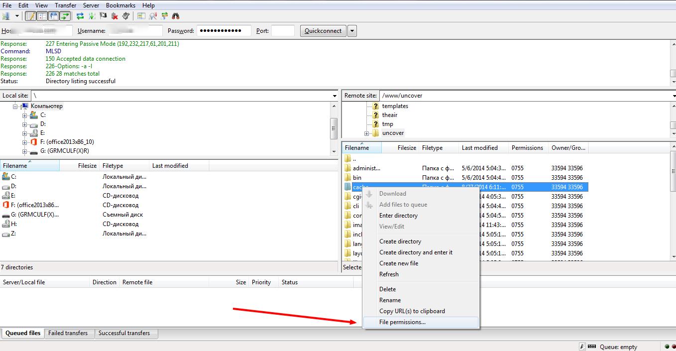 How to change file permissions. Right click on the folder